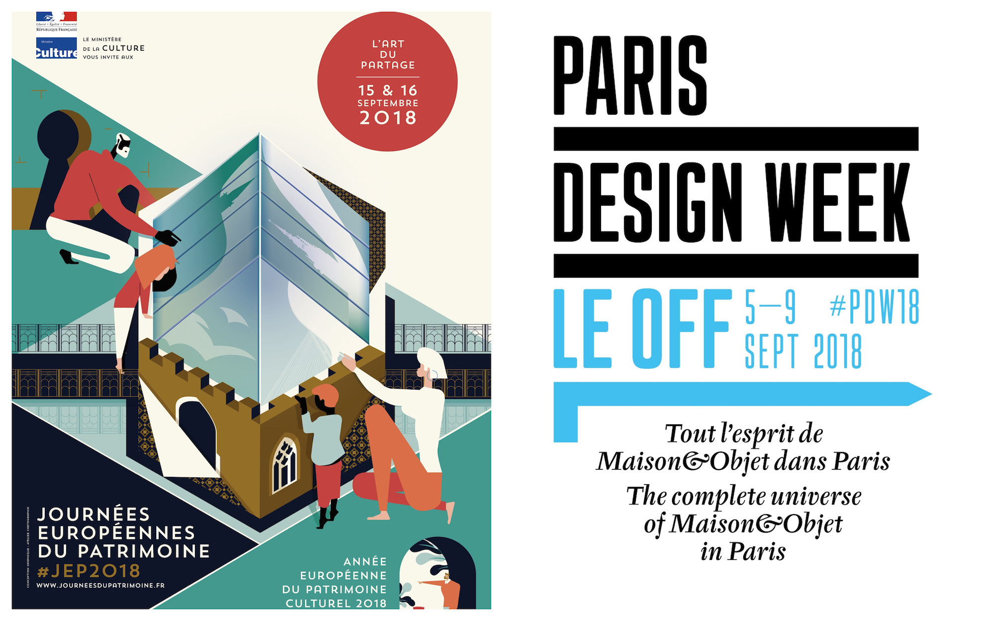 A poster for September events in Paris like the Paris Heritage Days (left) and satellite events for Paris Design Week (right).