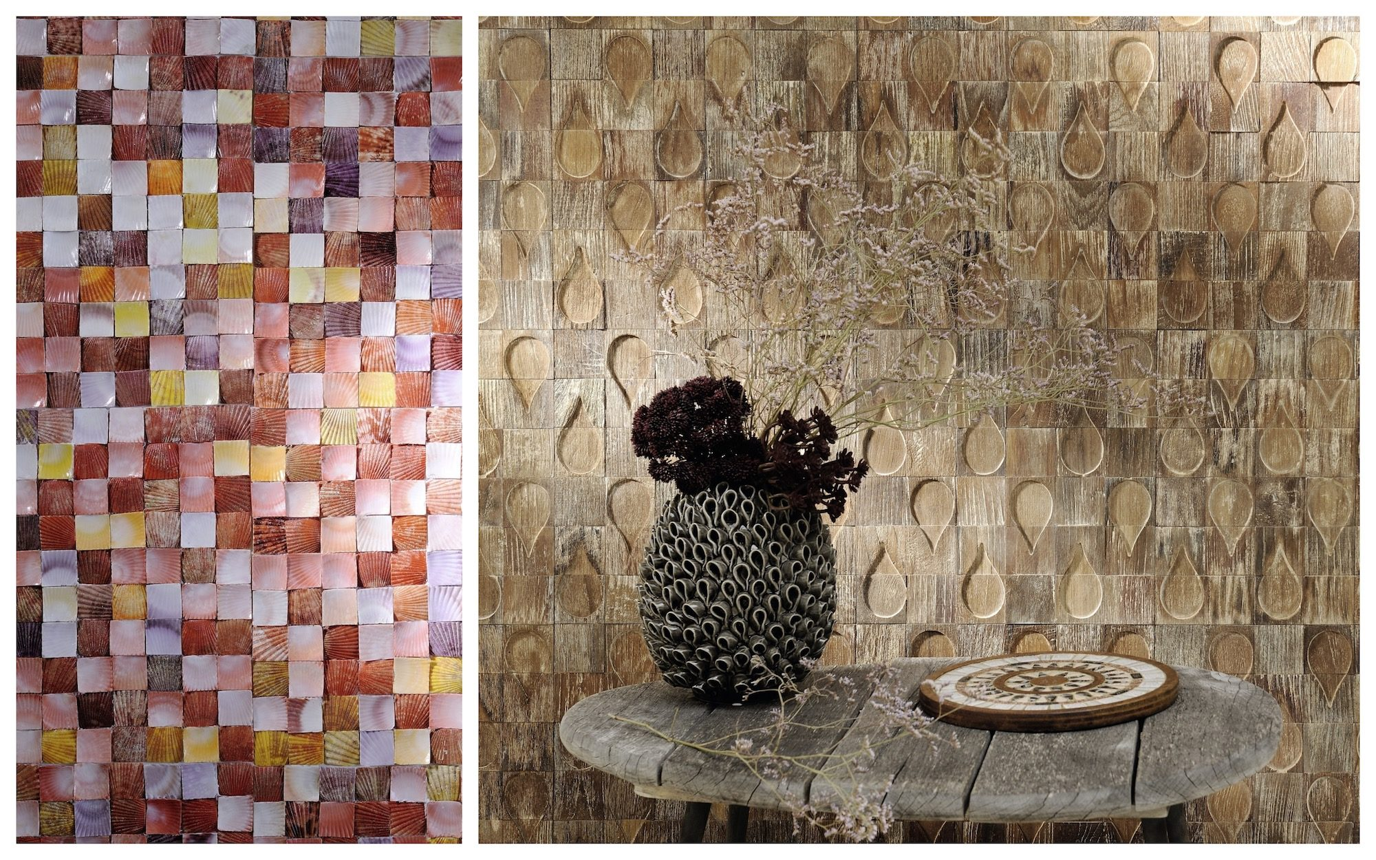 Colorful shell tiles (left) and a coral theme vase (right) at September's Maison et Objet design fair in Paris.