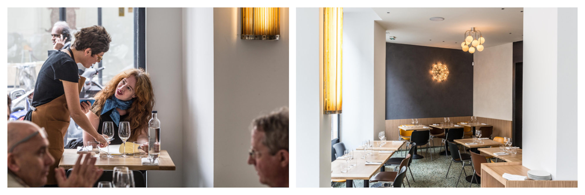 HiP Paris Blog reviews the Italian restaurant Passerini where the Italian staff is friendly (left) and the interiors of natural materials like wood and terrazzo floors are simple and soothing (right).