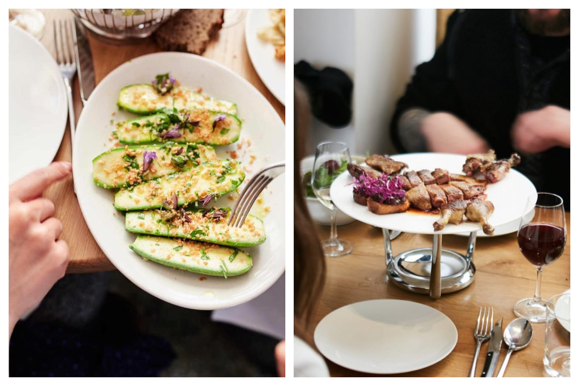 A go-to restaurant for great Italian food in Paris is Passerini for its crunchy courgettes (left) and meat dishes (right) as well as the hand-rolled pasta.