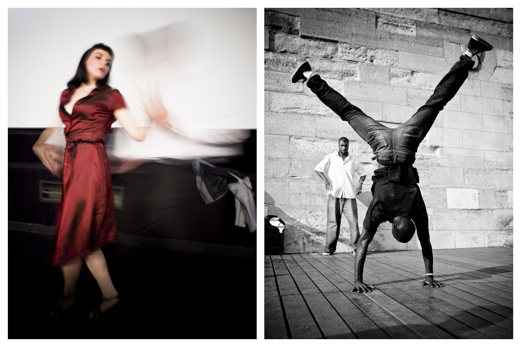 A woman in a red dress dancing at an African dance class in Paris (left). A man doing a handstand on stage (right).