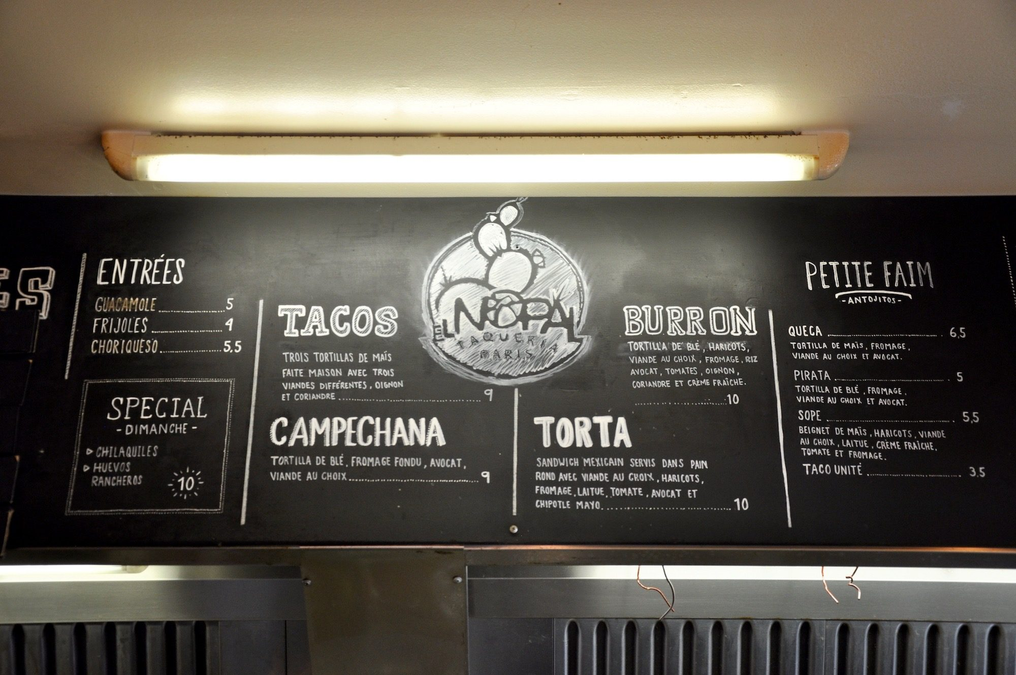 El Nopal, with its chalkboard menu, pictured, is the best taqueria in Paris and everything here is homemade.