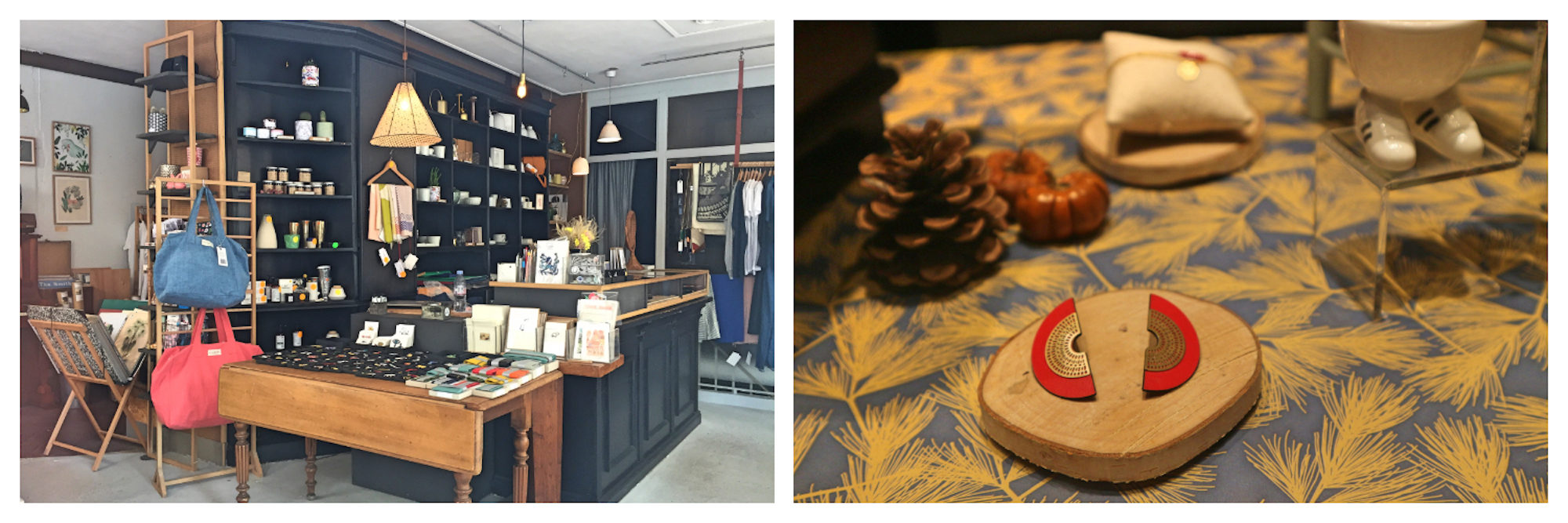 Places to go shopping in Paris in the Batignolles area include French Touche for its apparel and stationery (left) and L'Atelier Haut Perché for its handmade accessories (right).