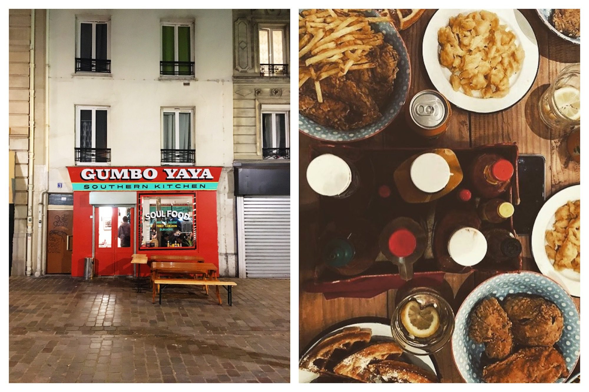The red facade of Gumbo Yaya restaurant in Paris (left). The best American comfort food restaurant in Paris, for macaroni cheese to fried chicken and waffles (right).