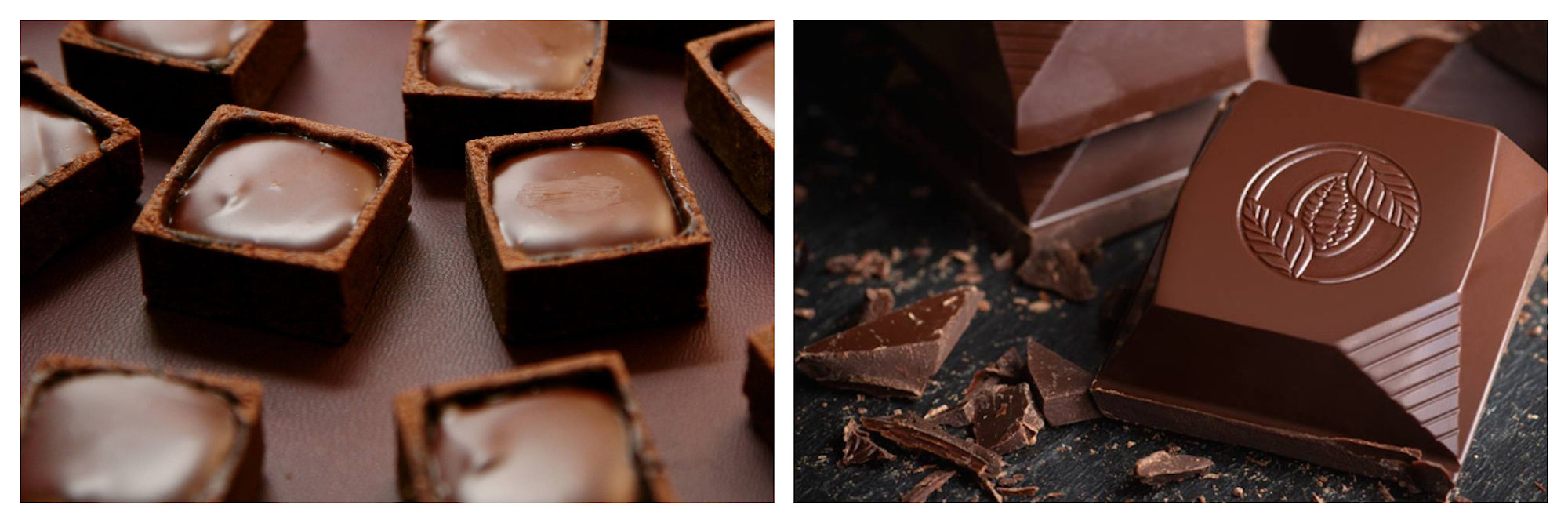 Creamy chocolate squares (left) and milk chocolate (right) at the Salon du Chocolat in Paris in October.