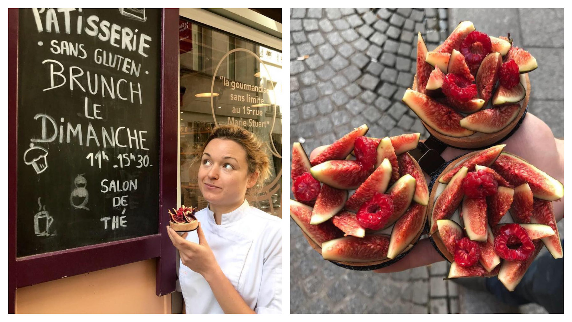 Sitron is a gluten-free bakery in Paris' Batignolles area and has a chalkboard sign outside (left). Sitron has delicious French gluten-free fig tarts (right).