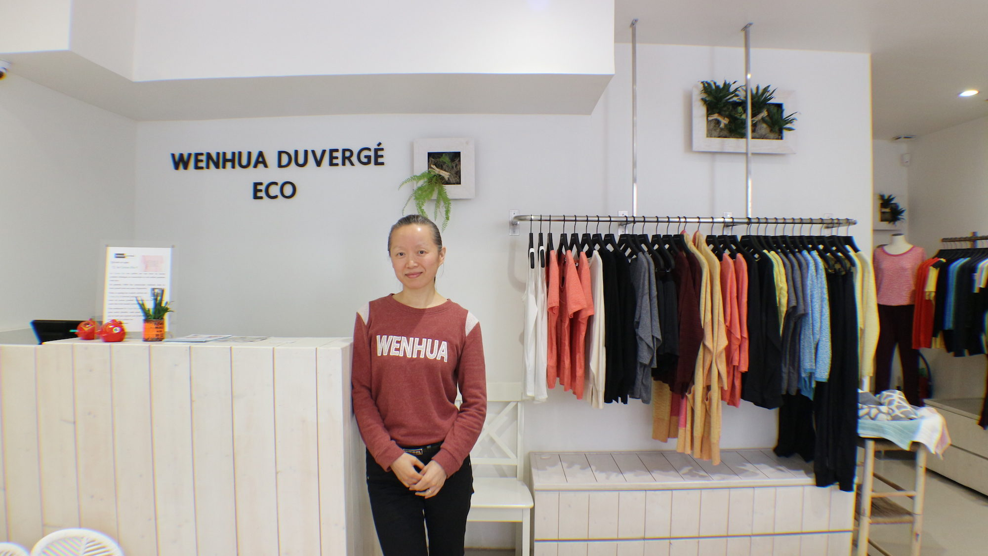Wenhua Duvergé, a talented Paris-based Chinese designer who focuses on eco-conscious slow fashion at her Paris boutique in the Batignolles neighborhood.