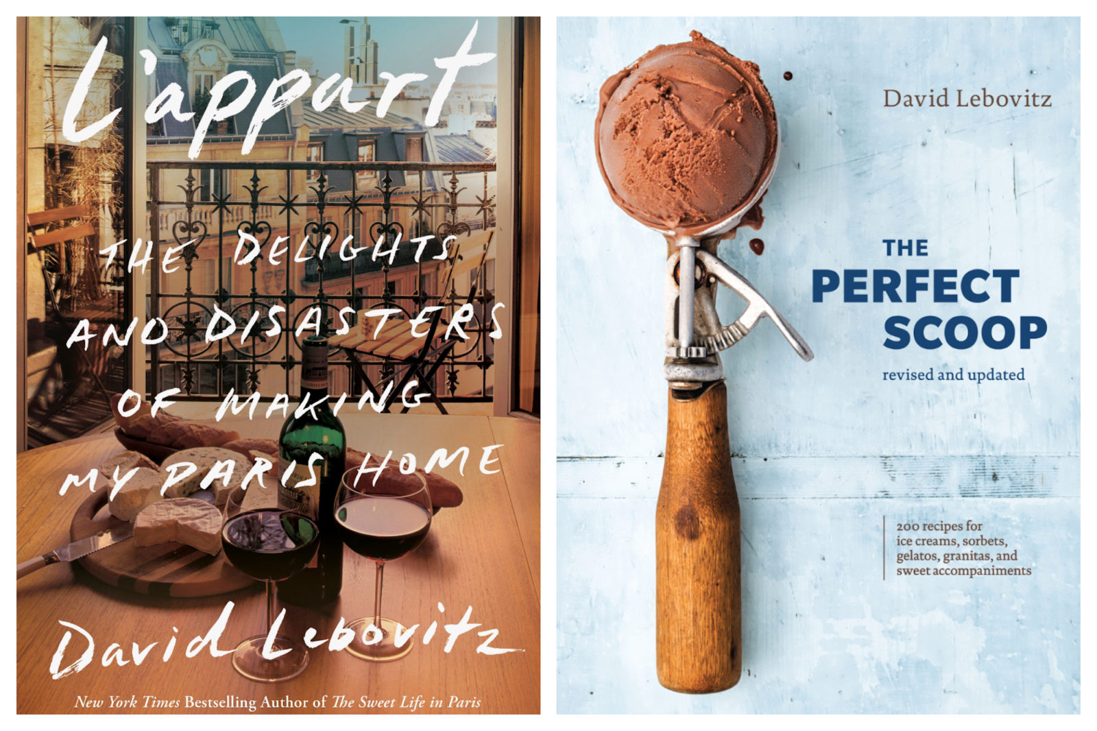 Author David Lebovitz's books about living in Paris are among our favorites, including 'L'Appart, the Delights and Disaster of Making Paris My Home' (left). And 'The Perfect Scoop' that has 200 recipes for ice cream and sorbets (right).