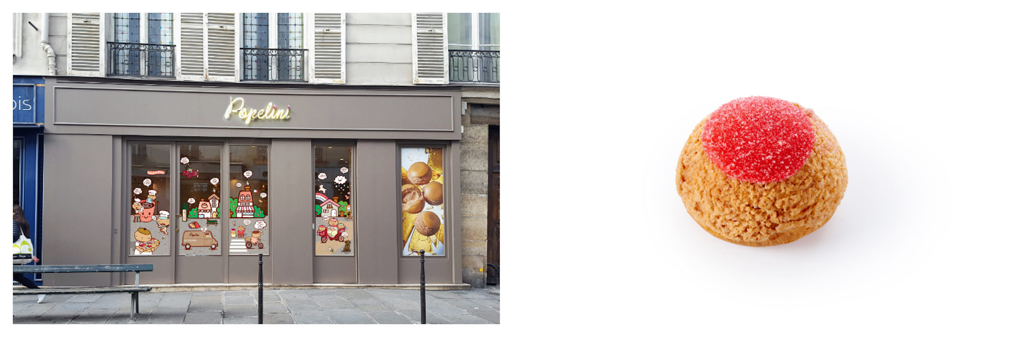 Outside chou patisserie Popelini (left). A chou with fruity filling against a white background (right).