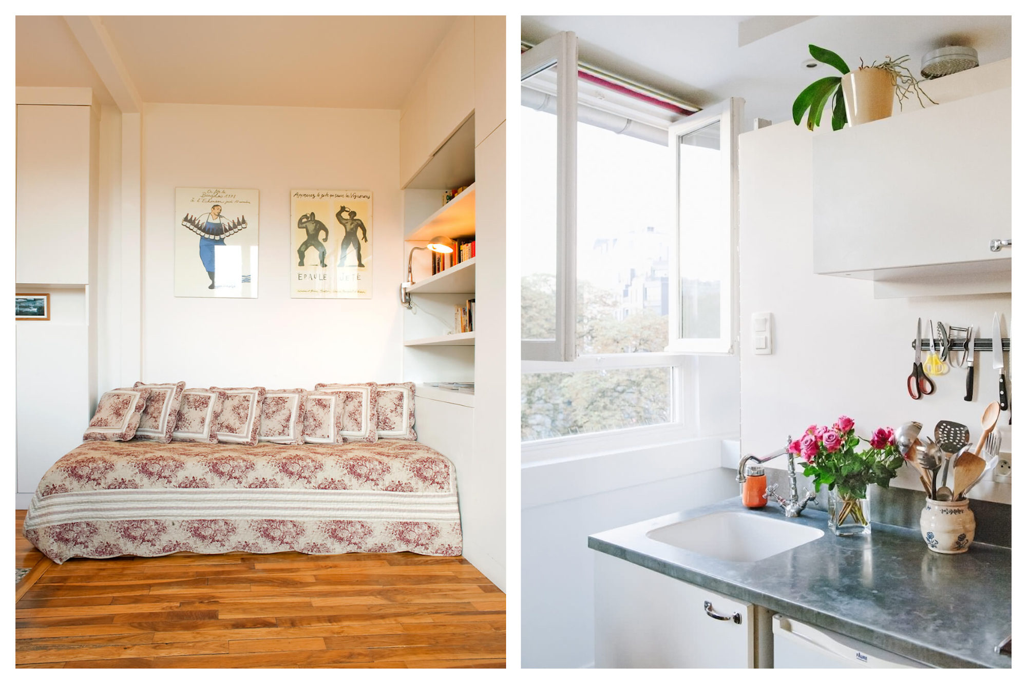 A studio for rent in Paris in Montmartre with a comfy fold-out sofa bed (left). The open window of a kitchen in a rental apartment in Paris (right).