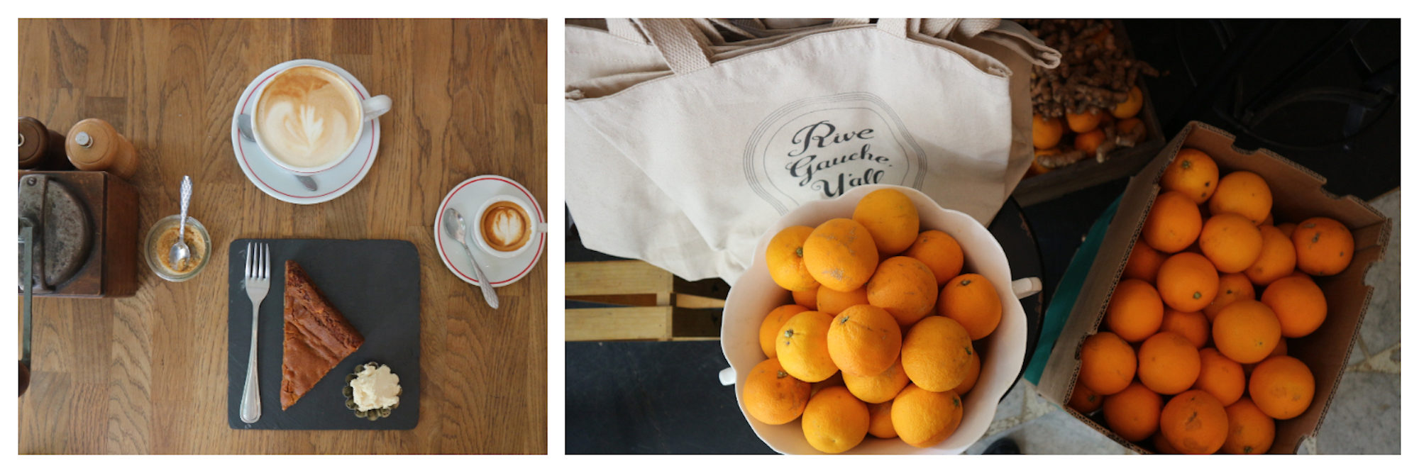 Warm home-made chocolate cake with ice cream on a slate plate with creamy coffee on a wooden table (left) and bowls of fresh oranges with a white tote bag (right) at Treize au Jardin coffee shop in Paris