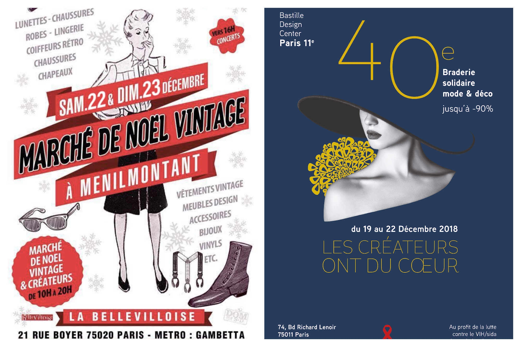 Markets in Paris are fantastic, especially for Christmas shopping, including the vintage Christmas market of Menilmontantant (left) and the chicer fashion and home design sale in the 11th district of Paris (left).
