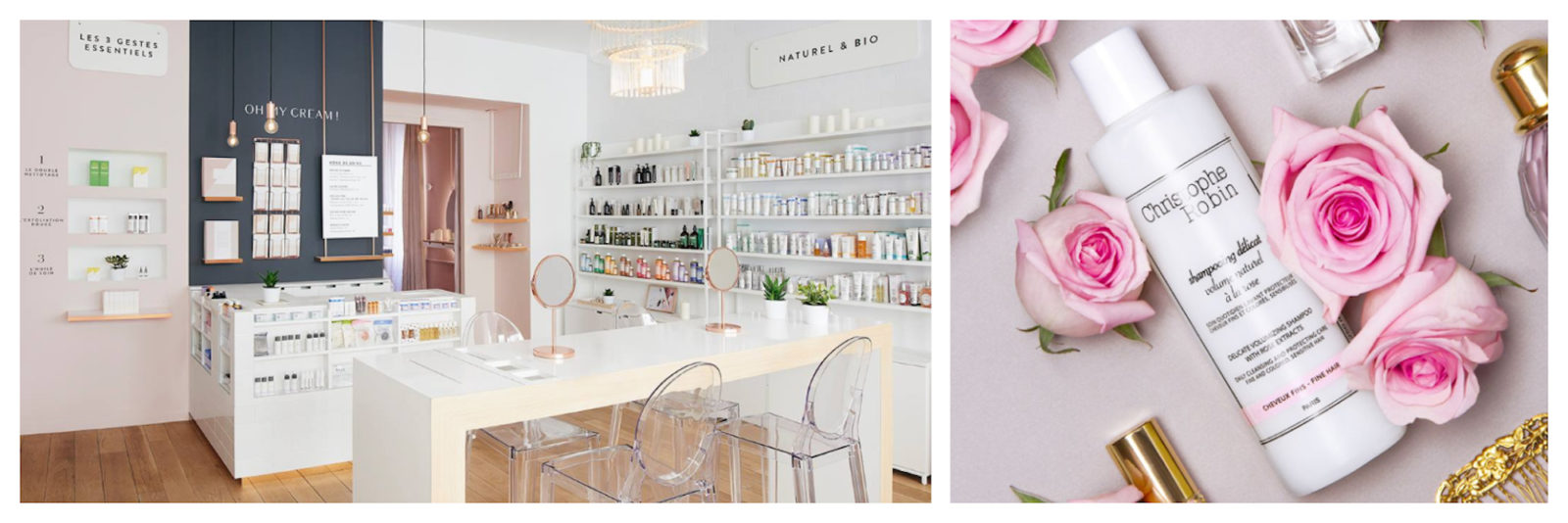 Oh My Cream! French beauty brand store interiors (left). French hair colorist Christophe Robin's beauty products top our list as they are natural and smell great, like this bottle of soft 'Shampooing délicat' (right).