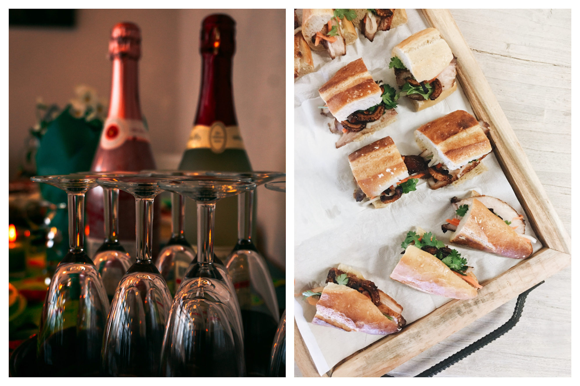 Two champagne bottles and glasses waiting to be filled for New Year's Eve (left). Baguette canapés on a tray (right).