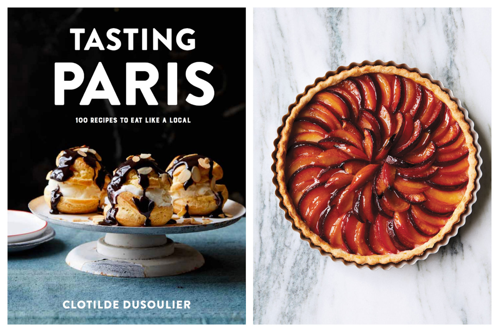 100 French food recipes by Clotilde Dusoulier in her cookbook 'Tasting Paris' Book (left). Beautiful whole caramelized plum tart from the book (left).