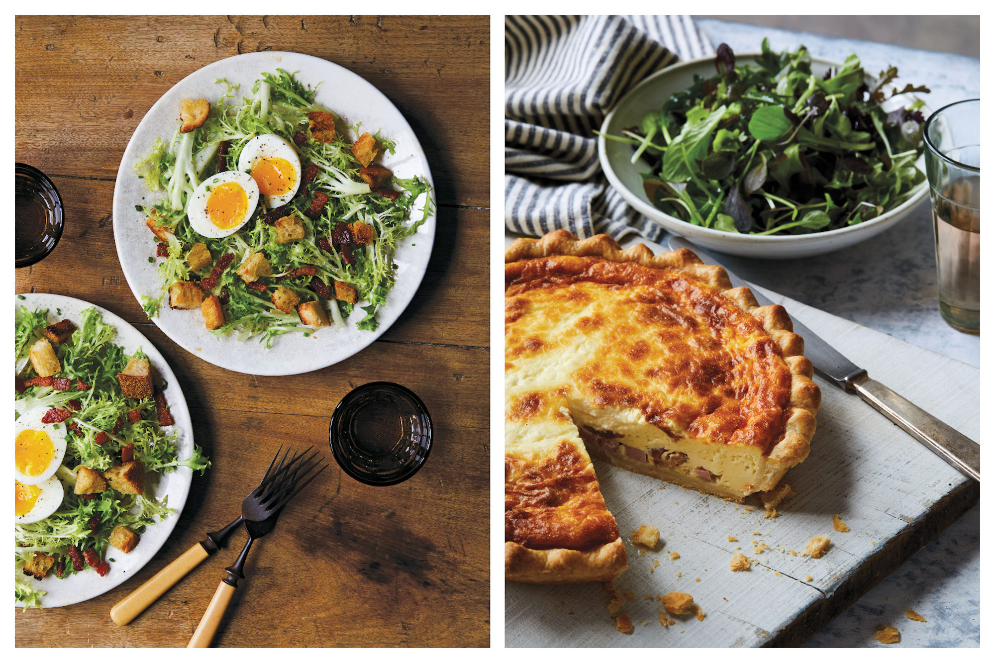 One of our favorite French cookbooks includes 'Tasting Paris' by Clotilde Dusoulier and we love her Frisée Salad with eggs (left) and quiche Lorraine (right).