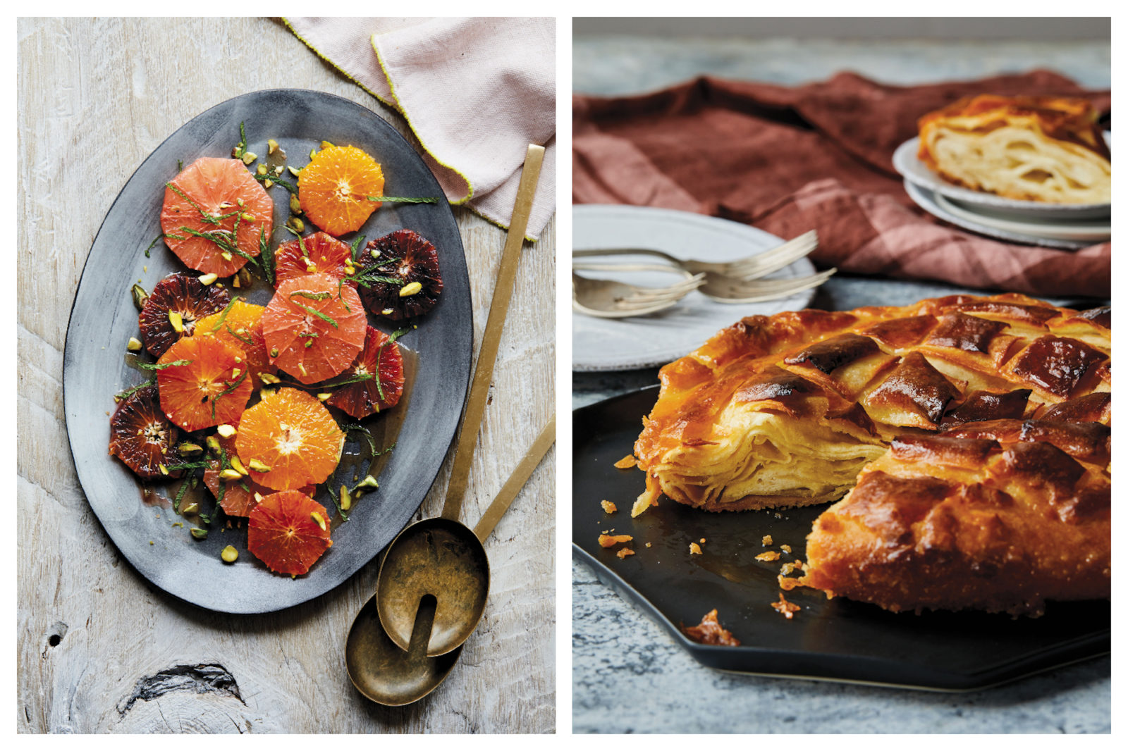 Some of the best French desserts like light and fluffy Kouign Amann pastry (right) and tangy citrus salad from Clotilde Dusoulier in her cookbook 'Tasting Paris' book.