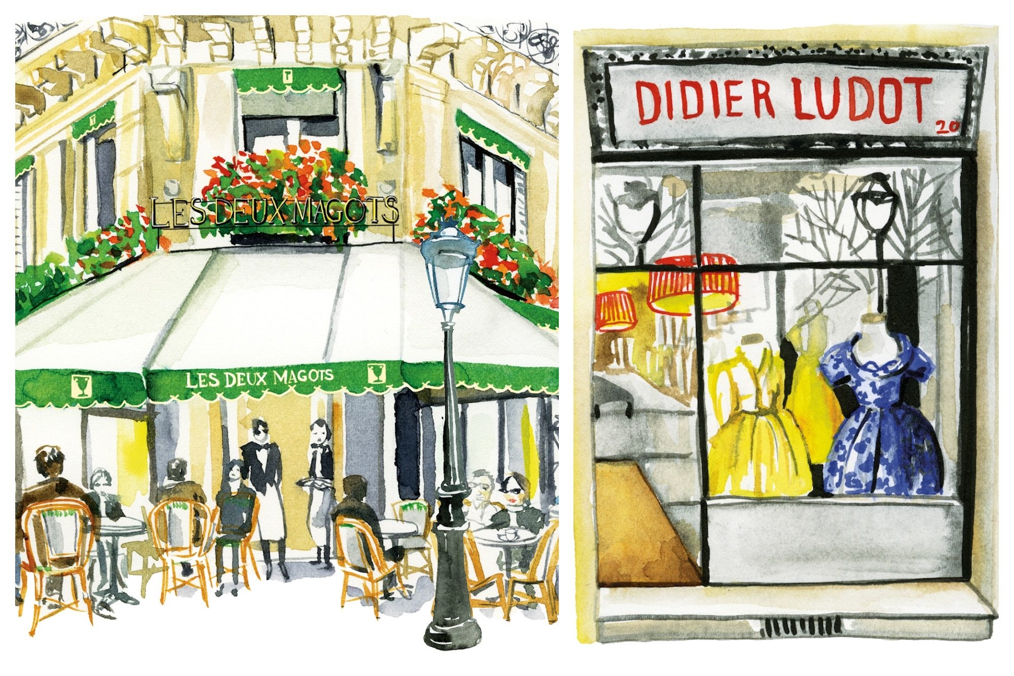 Jessie Kanelos Weiner's watercolor illustrations in the guidebook 'Paris in Stride' include the famous Café des Deux Magots in Saint Germain (left) and Didier Ludot's chic second-hand Paris vintage apparel store in the Jardins du Palais Royal (right).