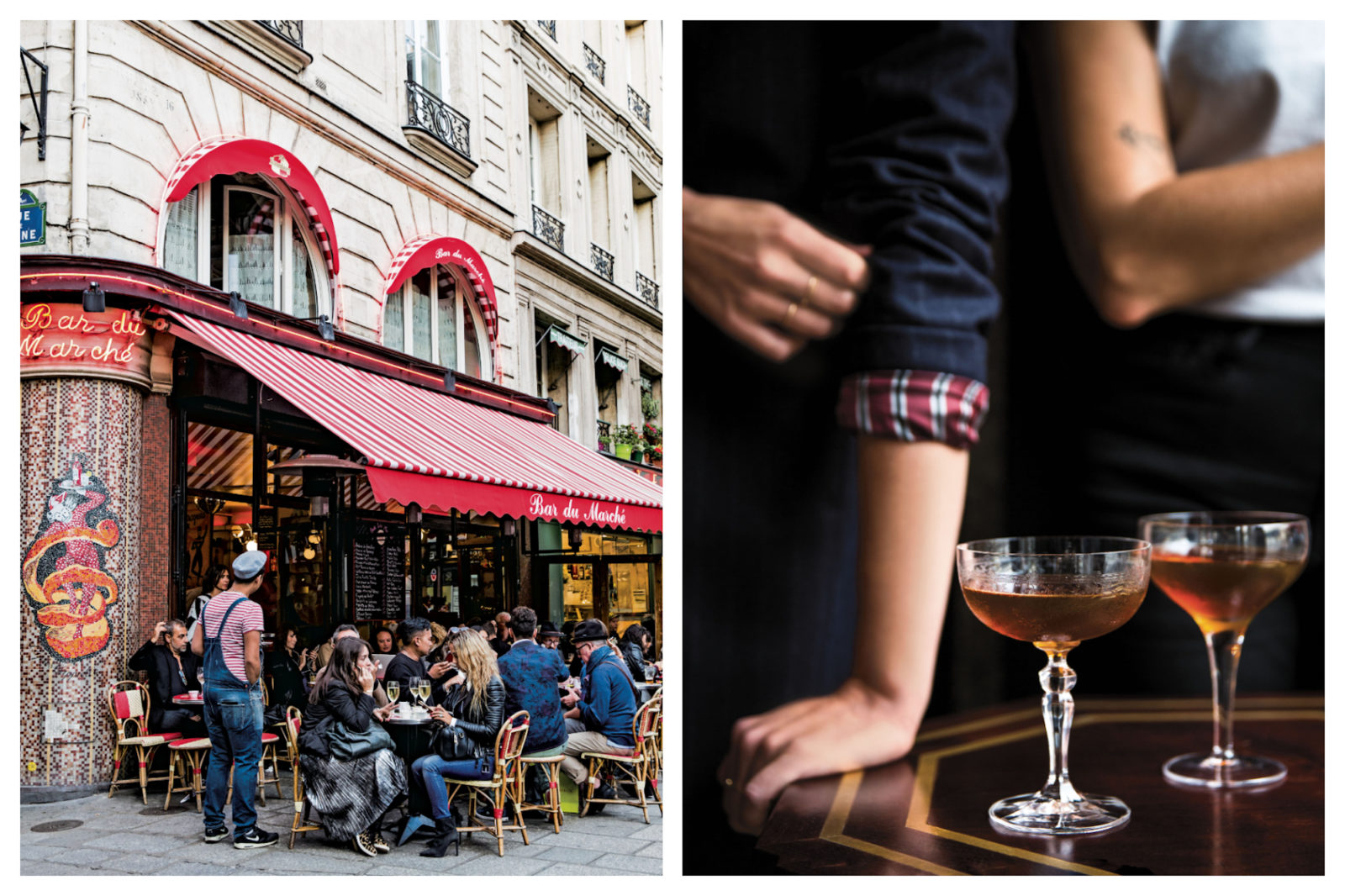A favorite Parisian bistro with an outdoor terrace is the perfect spot for drinks (left). French Suze cocktails from Rebekah Peppler's French 'Aperitif' book (right).