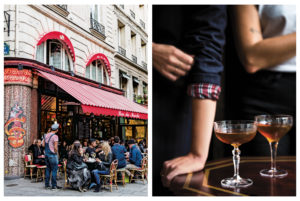 A favorite Parisian bistro with an outdoor terrace for drinks (left). French Suze cocktails from Rebekah Peppler's French 'Aperitif' book (right).
