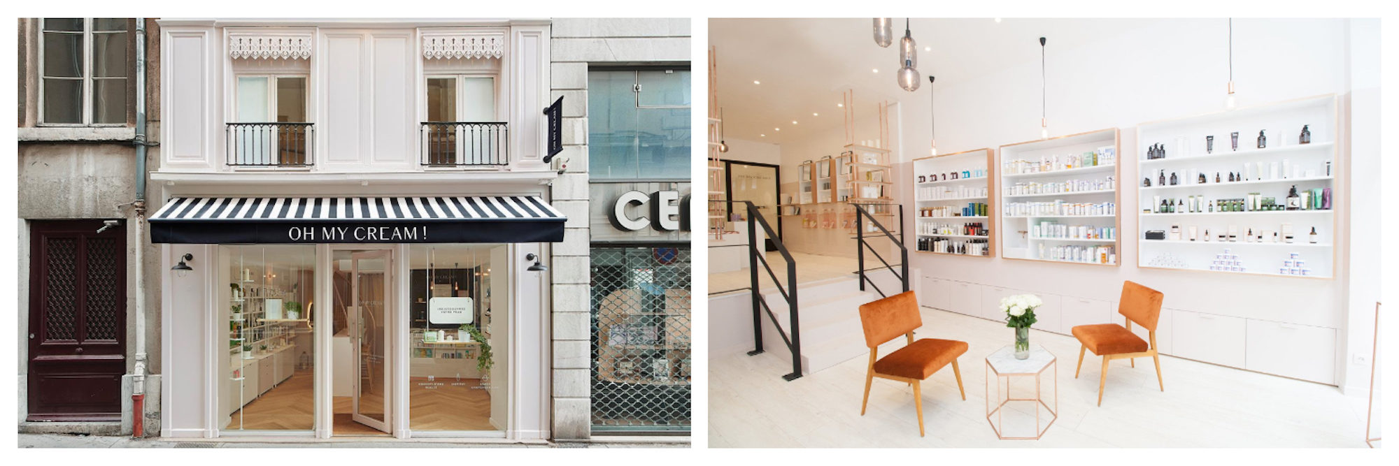 The facade of Oh My Cream! French beauty brand store in Paris and all over France (left). Inside our favorite store for natural, clean, and often organic beauty products all made in France (left).