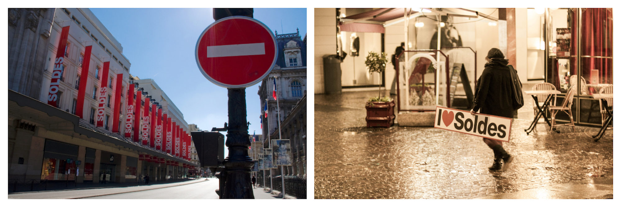 Where to do shopping during the winter sales in Paris including its department stores (left). Woman walking on cobblestone street carrying an 'I love the sales' sign during the sales in Paris (right).