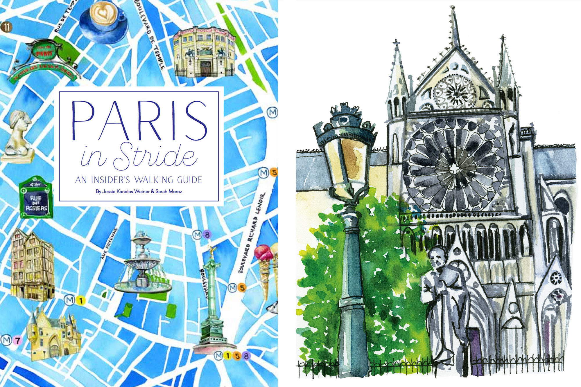 One of the best guidebooks on Paris, 'Paris in Stride' illustrated by Jessie Kanelos Weiner's watercolor paintings.
