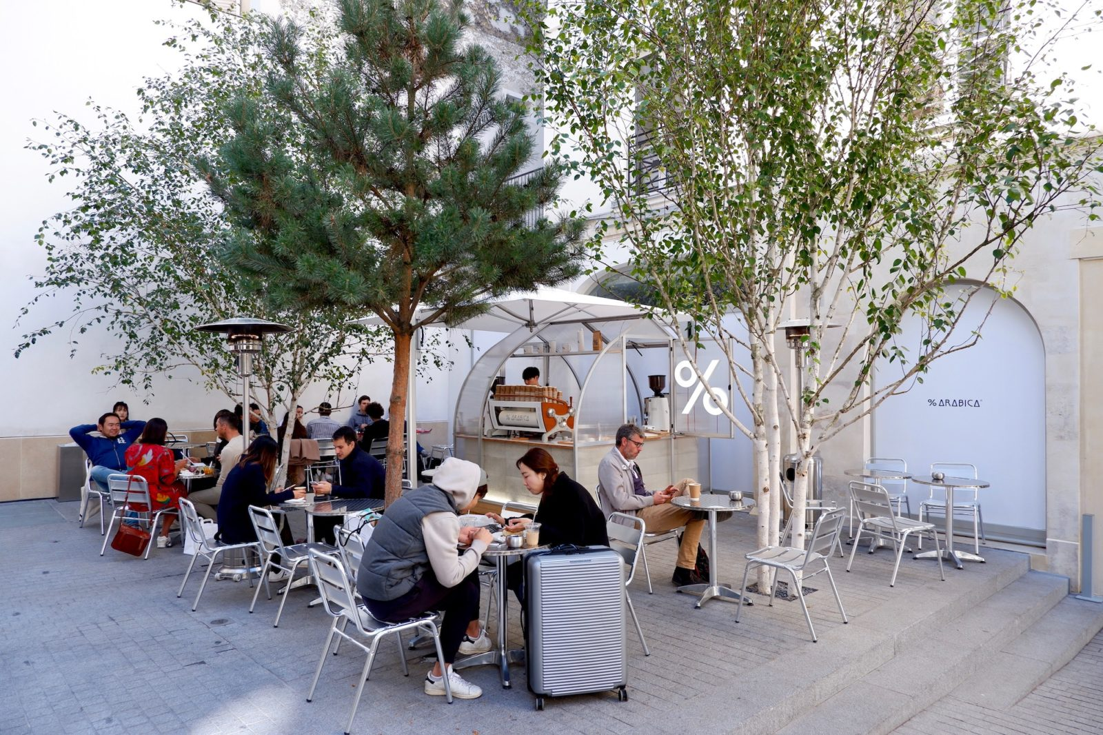 The outdoor cafe 100% Arabica at Beaupassage in Paris' St Germain Left Bank Neighborhood