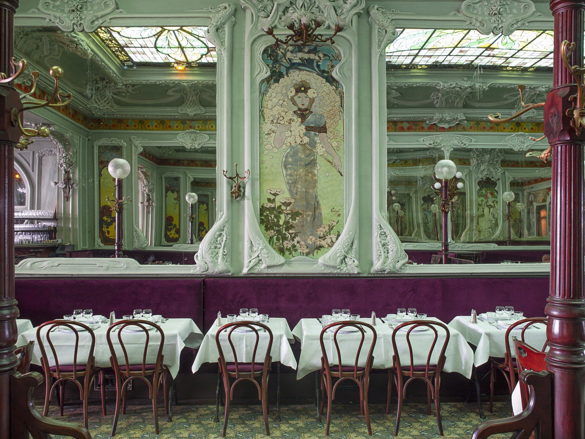 Interior shot of the wonderful Art Nouveau interiors of Bouillon Julien restaurant in Paris