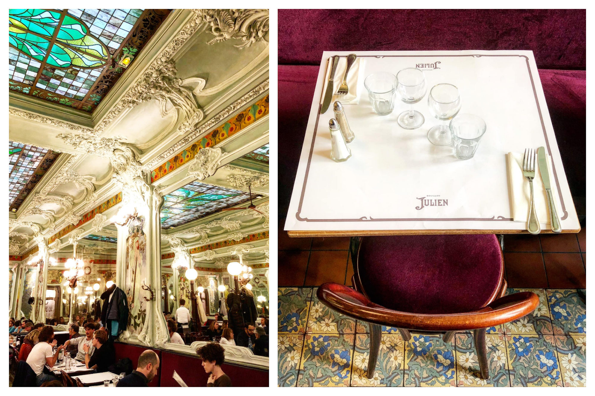 The ornate moldings and stained glass ceiling (left) and stylish bistro table and chair on original period tiles (right) at Bouillon Julien restaurant Paris.