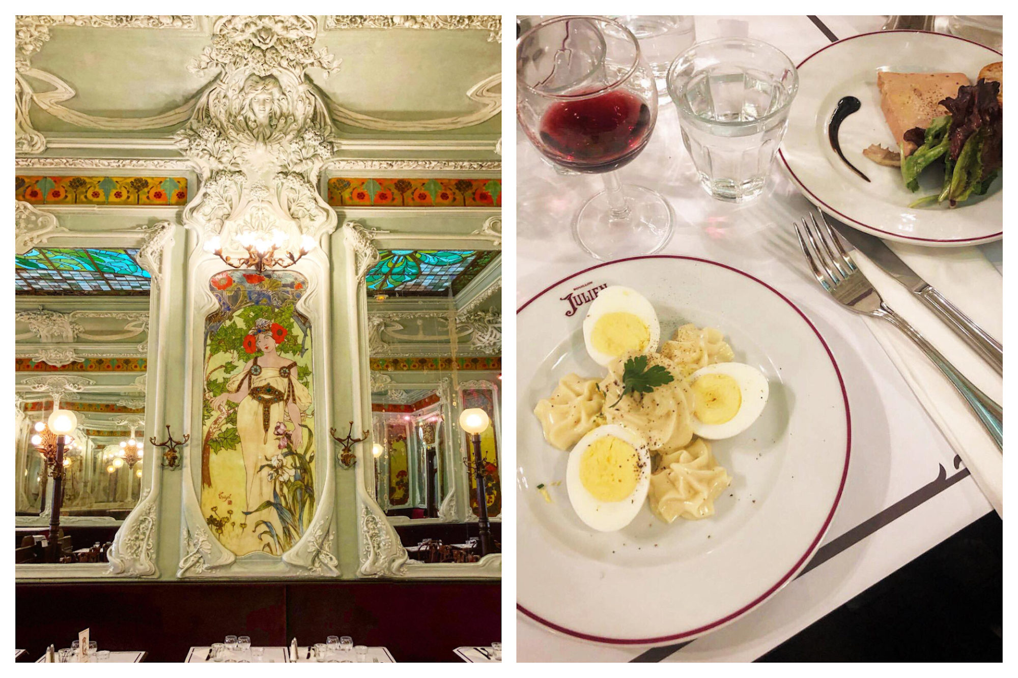 Elaborate Art Nouveau frescoes line the walls (left) and typical French classics like egg mayonnaise and foie gras are served (right) at Bouillon Julien restaurant in Paris