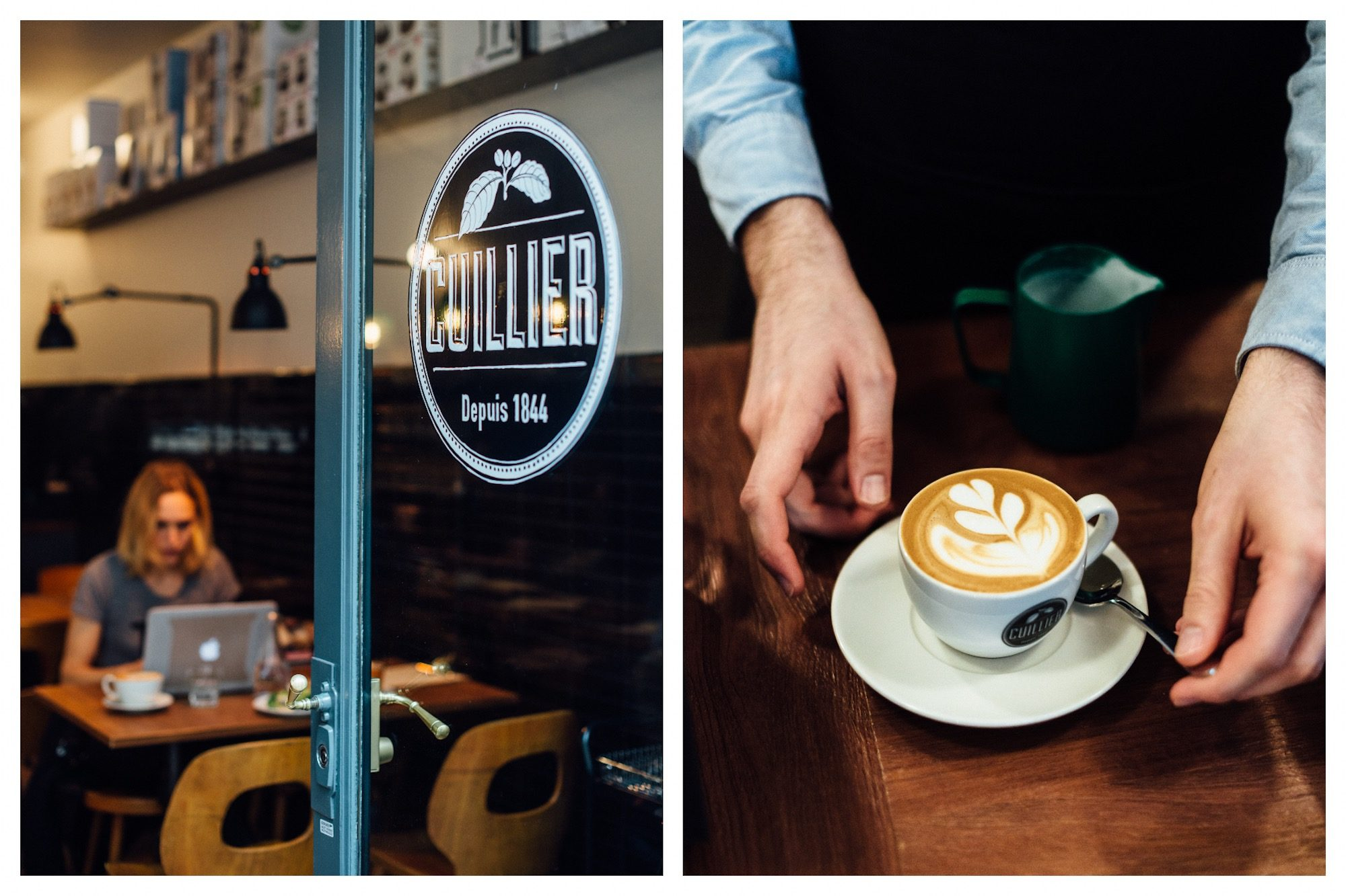 A freshly made cappuccino between the hands of the barista at Cuillier coffee shop in St Germain des Près Paris