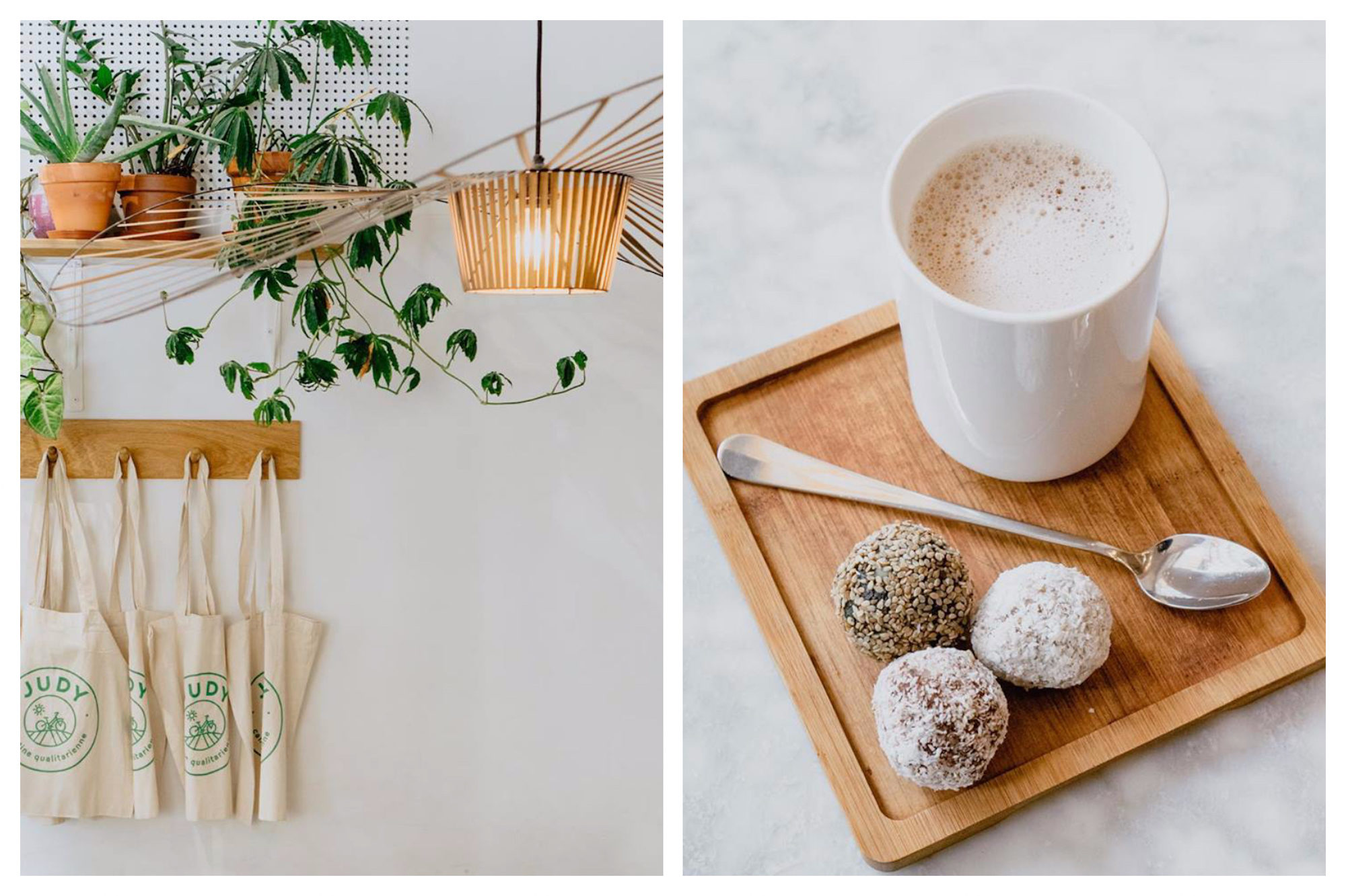 The natural style interiors of Judy coffee shop (left) and a hot drink with coconut dessert balls (right) in Paris' Saint Germain neighborhood