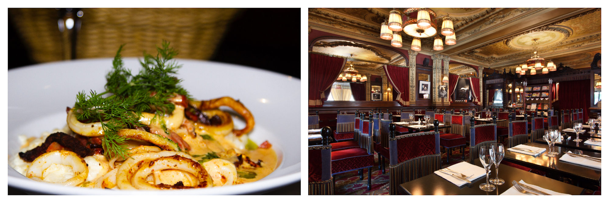 Top place to eat in Paris for its Alsatian-inspired fare, Brasserie Zimmer is on the Place du Châtelet in Paris' 1st district and serves seafood like grilled octopus (left) and has old-world wooden and red velvet interiors (right).