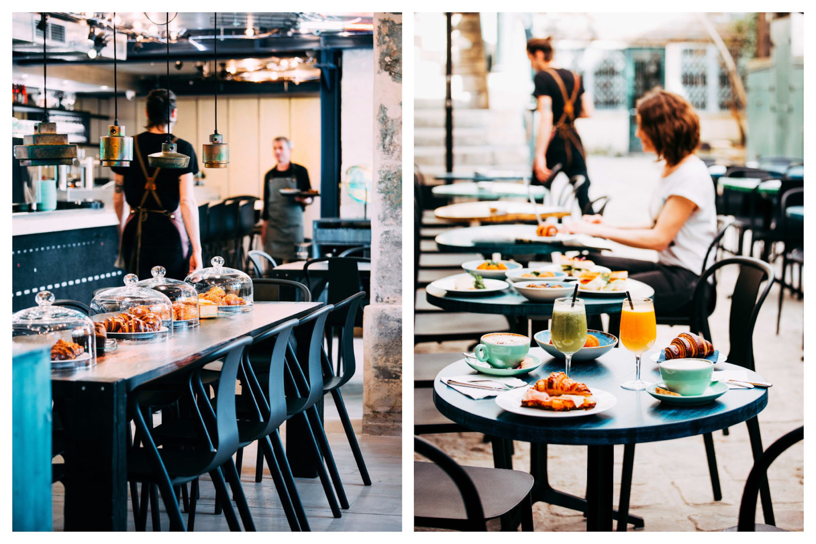 The industrial-style interiors of Marcello (left) and an outdoor table with brunch for two on a terrace in Paris' Saint Germain neighborhood (right).