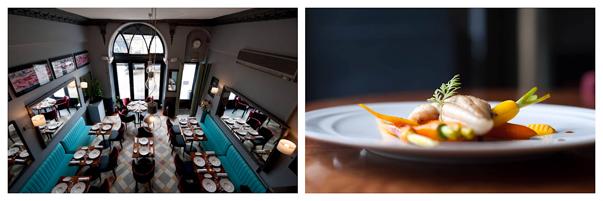 Sequana restaurant, with its sleek, modern interiors (left) and delicious fare like fresh monkfish with carrots (right), is one of our favorite spots to eat near Notre Dame Cathedral in Paris