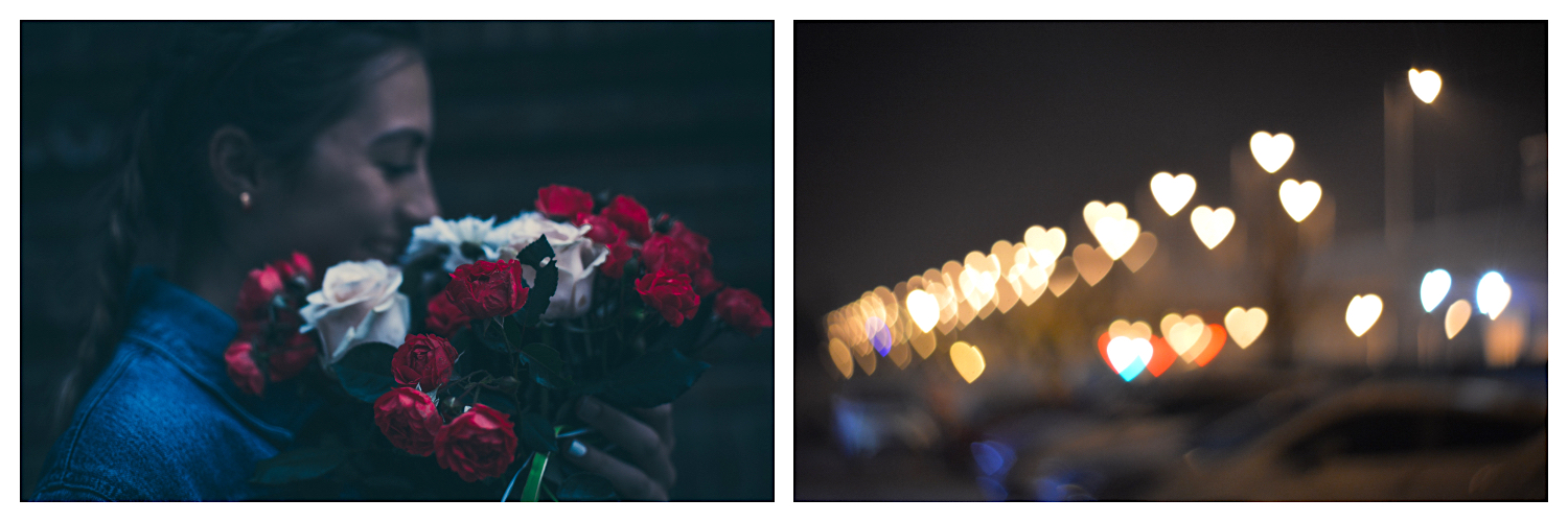 Happy girl smelling a bunch of red and white Valentines Day roses (left). Heart lights in Paris (right).