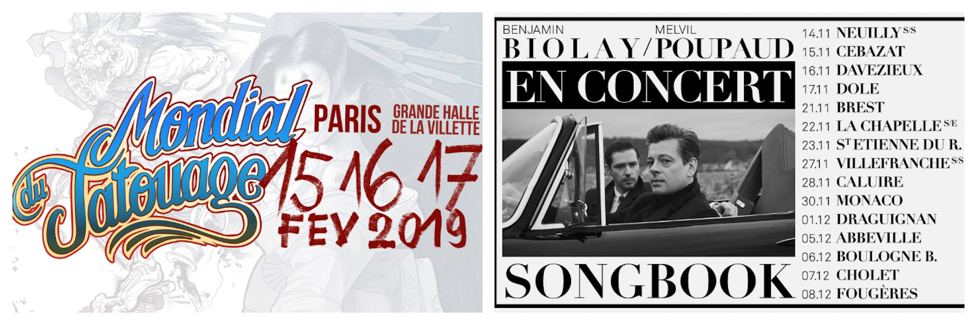 Mondial Tatouage tattoo fair takes places every February in Paris (left). Poster for French singer Benjamin Biolay Music Concert in Paris (right).