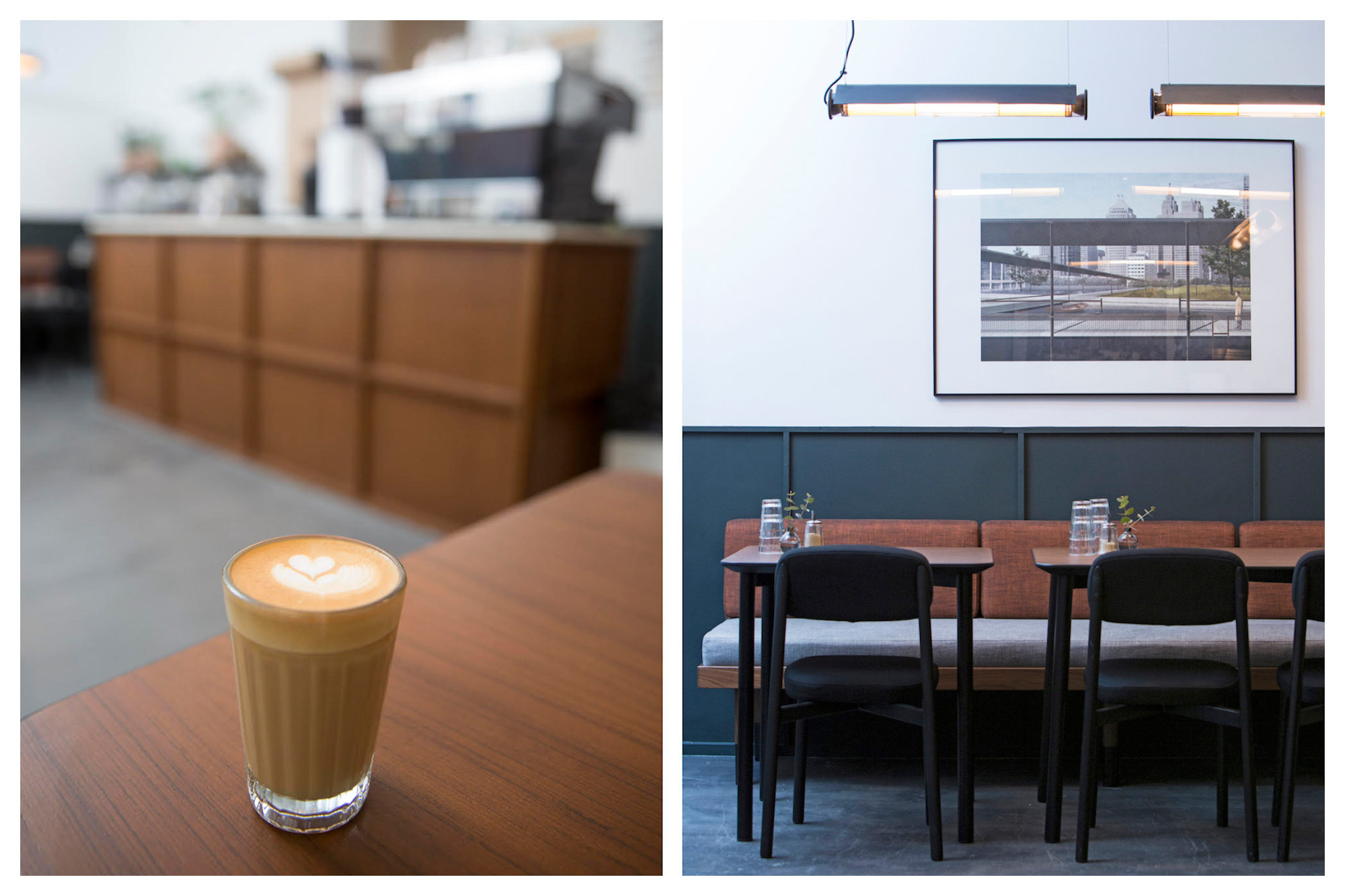 Residence Kann coffee shop in Paris and creamy Cappuccino in a small glass (left) and Designer Furniture (right).