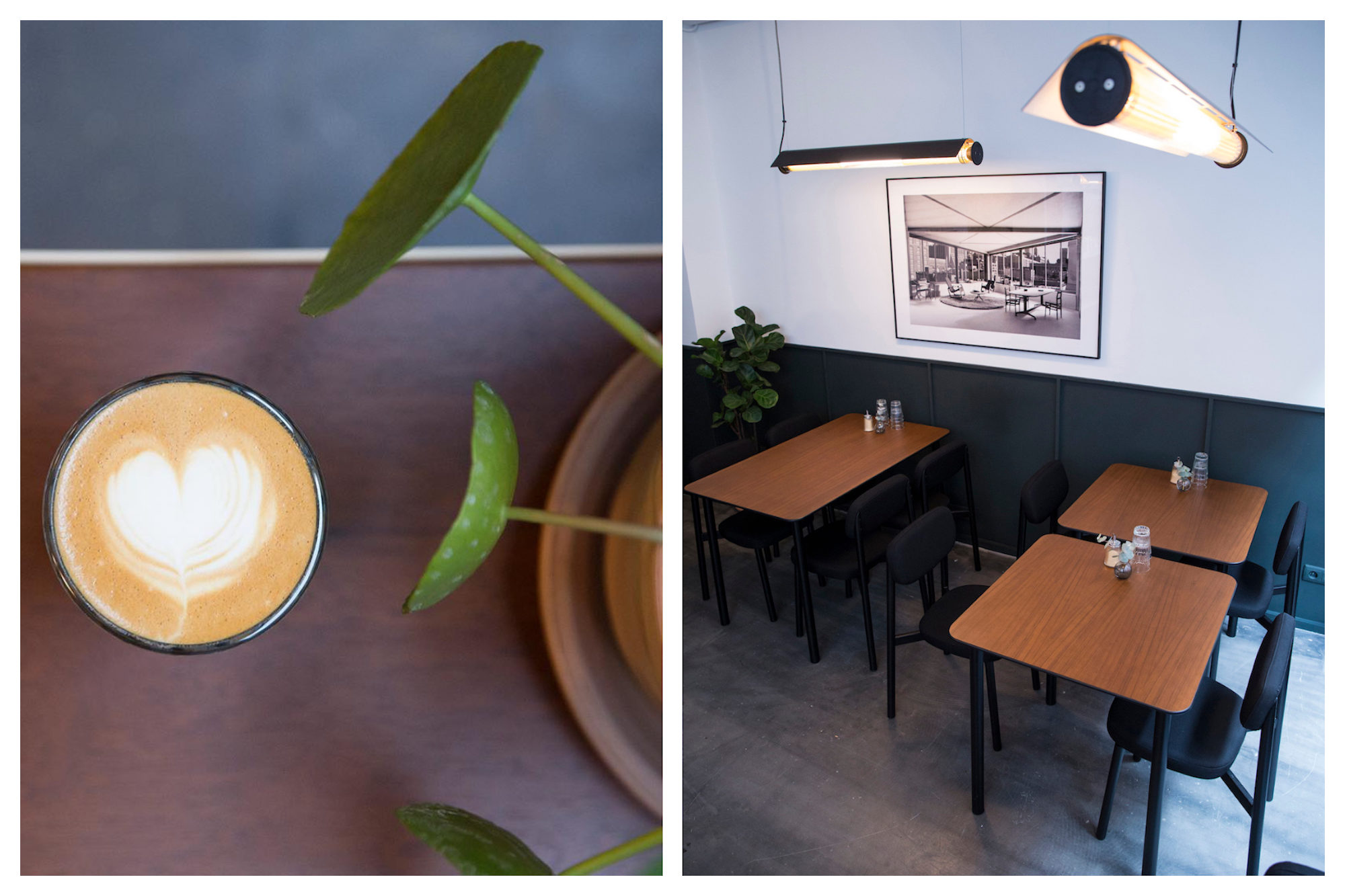 Creamy coffee on a table next to a plant (left) and beautiful Danish-inspired Handmade tables at Residence Kann coffee shop in Paris (right).