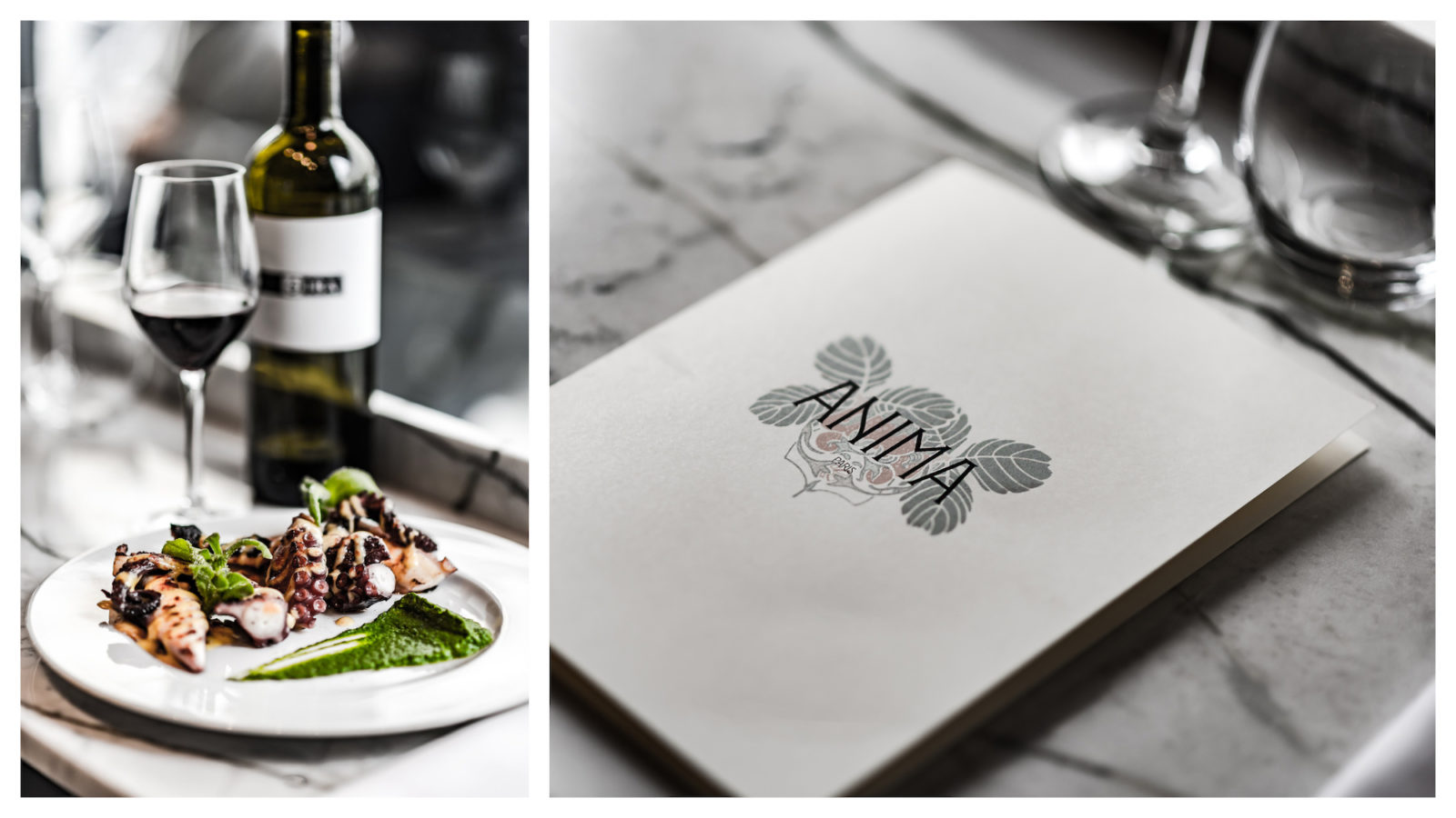 Tasty grilled octopus with a glass of wine at Anima restaurant in Paris on rue du Cherche-Midi (left). The beautifully hand-drawn menus at favorite Paris restaurant Anima in Paris (right).