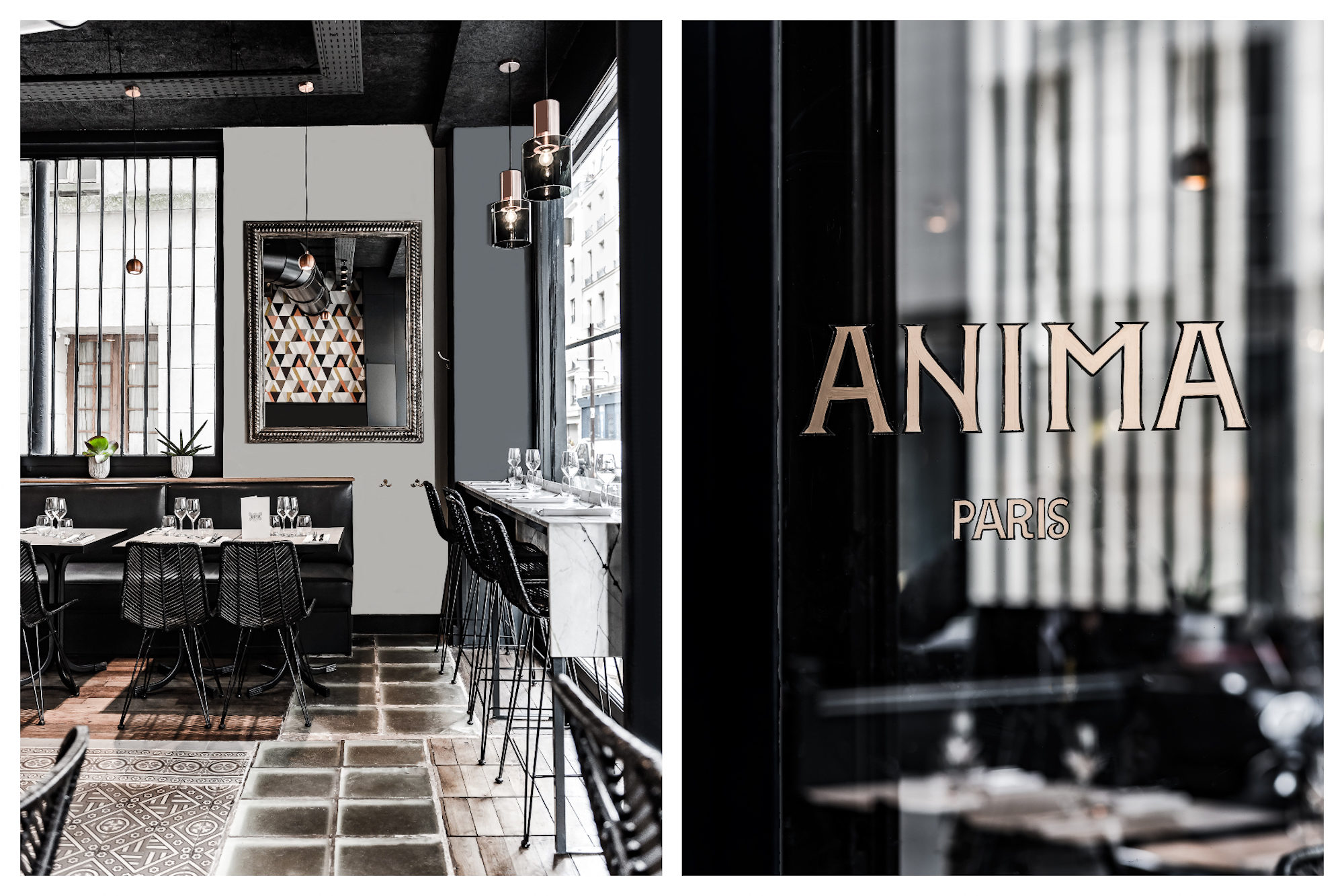 The subdued slate gray decor of Anima restaurant on rue du Cherche-Midi (left). The window of Anima restaurant in Paris (right).
