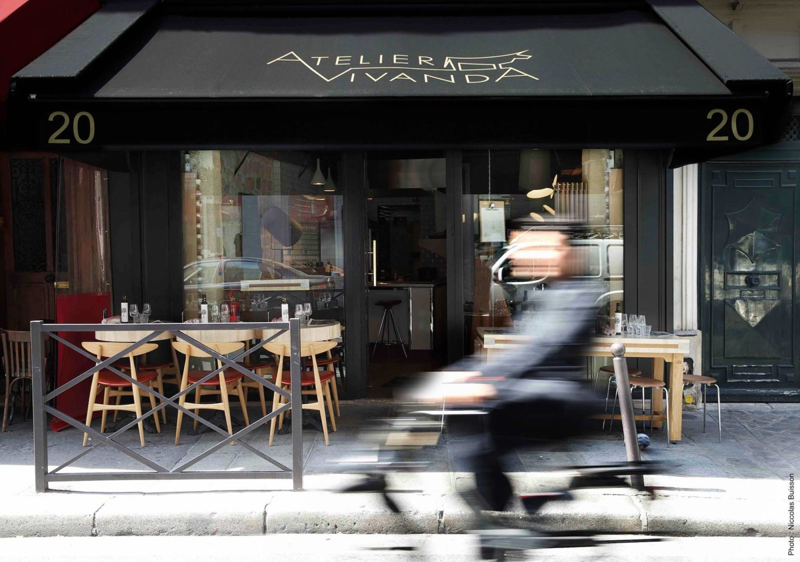 The terrace at Atelier Vivanda restaurant on rue du Cherche-Midi in Paris.