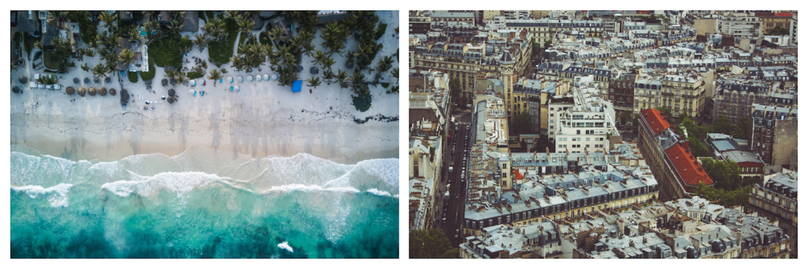 Aerial views of Paris (right) and of a pretty tropical deserted beach (left).