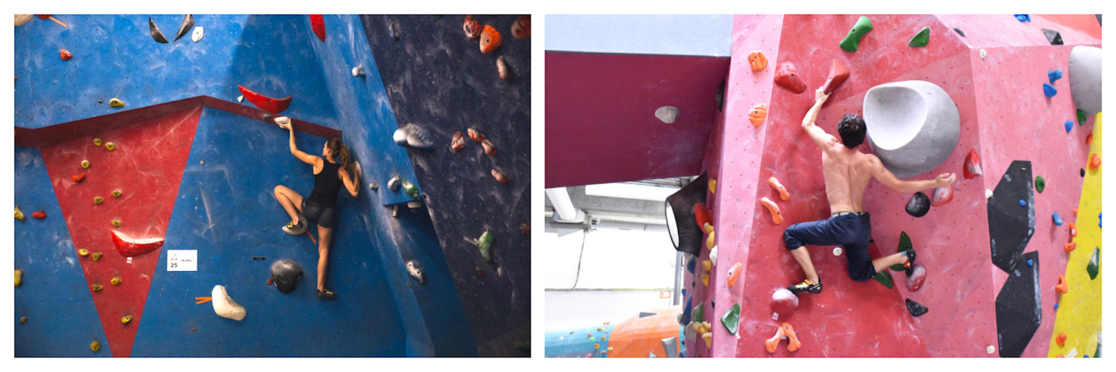 The blue (left) and pink (right) climbing walls at Blockout, a Paris kid-friendly climbing club that organizes children's birthday parties.
