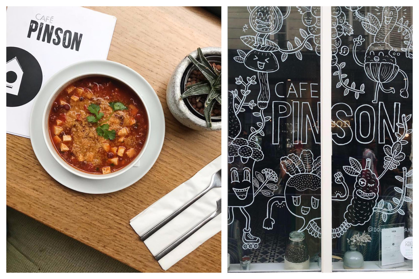 One of the best places to go for a gluten-free lunch in Paris is Café Pinson in the Marais, and we love their vegetable soups (left) and fun décor like the hand-painted veggie figures on the window (right).