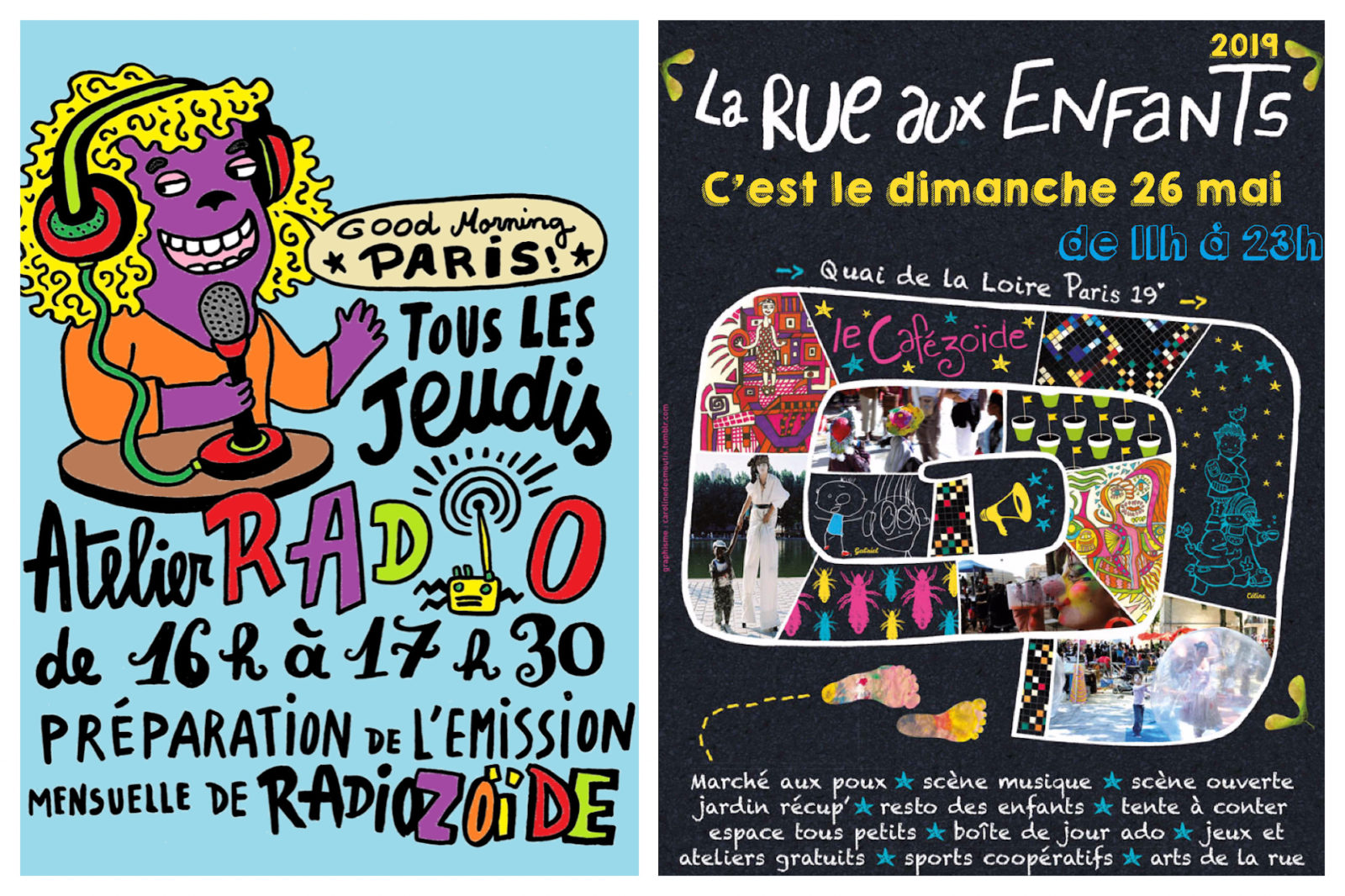 Posters for Cafézoïde, a cafe offering lots of kid-friendly activities in Paris like radio workshops on Thursdays and games on Sundays.