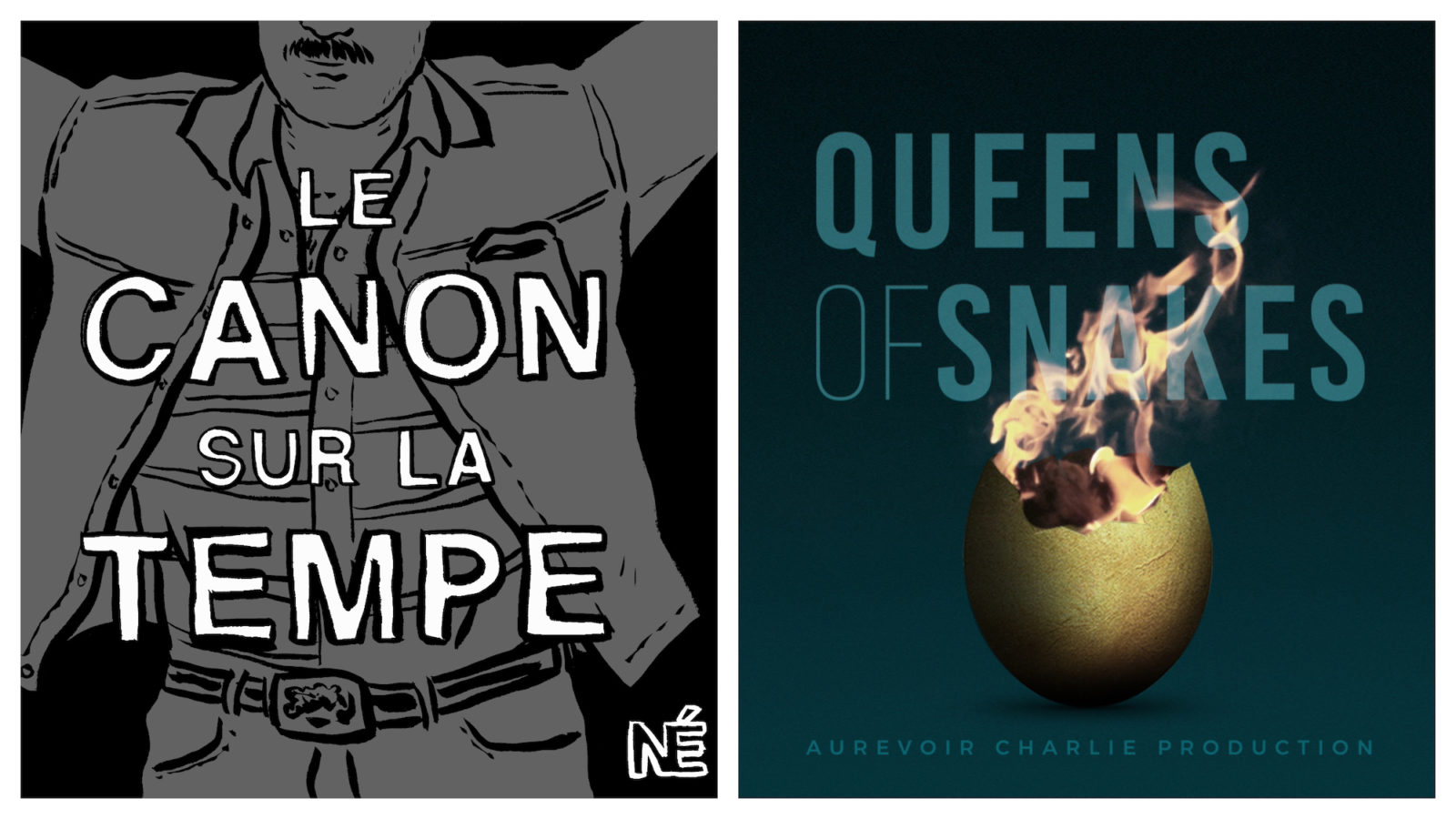 HiP Paris blog's favorite winter podcasts include Le Canon sur la Tempe about murders (left) and Queens of Snakes, an adventure story with actor Joey Starr (right).
