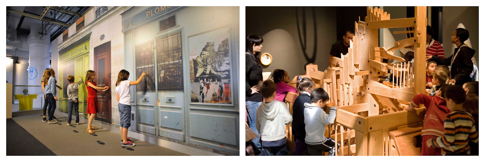 Kids drawing on the walls (left) and exploring the interactive exhibits (right) at Paris' Science Museum.