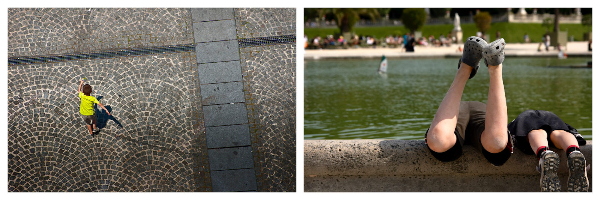 An aerial view of kid in a yellow t-shirt, walking across a cobblestone square in summer in Paris (left). Two pairs of children's legs as they lean into the pond at the Jardin des Tuileries, a popular kid-friendly spot in Paris (right).